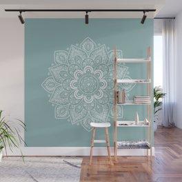 Temptation Mandala on Milky Blue Background Wall Mural