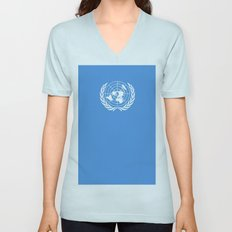 Flag on United nations -Un,World,peace,Unesco,Unicef,human rights,sky,blue,pacific,people,state,onu Unisex V-Neck