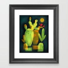 MOONLIGHT CACTUS Framed Art Print