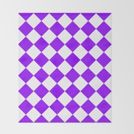 Large Diamonds - White and Violet Throw Blanket