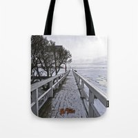 finland Tote Bags featuring Frozen Finland by Chema G. Baena Art