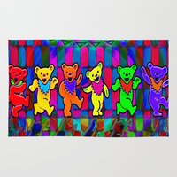 grateful dead Area & Throw Rugs featuring Grateful Dead Dancing Bears Colorful Psychedelic Characters #1 by CAP Artwork & Design