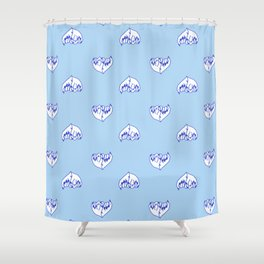 Best Friend Galentine's Day Pinky Promise Pattern in Blue Shower Curtain