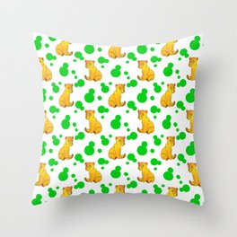 Little bears. Cute adorable funny baby bear cubs bold green retro dots white seamless pattern Throw Pillow