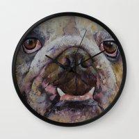 bulldog Wall Clocks featuring Bulldog by Michael Creese