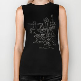 Yoga Asanas black on white Biker Tank