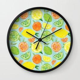 Zesty Citrus Pattern Wall Clock