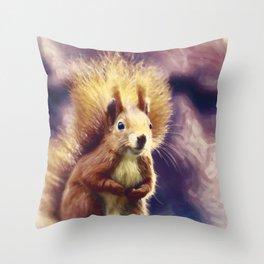 squirrel digital oil paint dopfn Throw Pillow