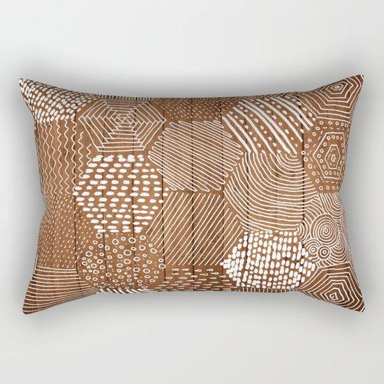 hexagon doodle patterns on wood Rectangular Pillow