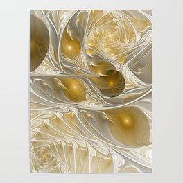 Golden, Abstract Fractal Art Poster