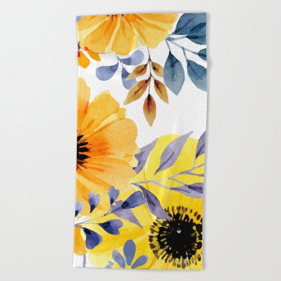 FLOWERS WATERCOLOR 10 Beach Towel