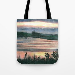 Summer Sunset at Baker Wetlands Painting Tote Bag