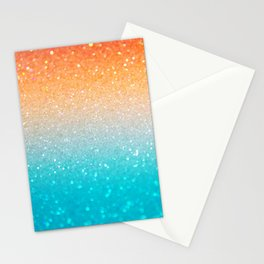 Glitter Teal Gold Coral Sparkle Ombre Stationery Cards