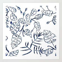 Tropical Plant Boho Chinoiserie Blue and White Art Print