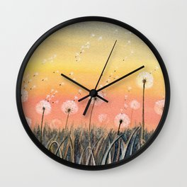Up, Up and Away - Dandelion Watercolor Wall Clock