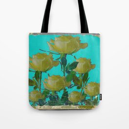 SHABBY CHIC TURQUOISE ANTIQUE IVORY YELLOW ROSE GARDEN Tote Bag