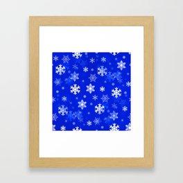 Light Blue Snowflakes Framed Art Print
