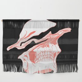 Liquify Skull in black and living coral Wall Hanging