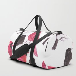 Cardinals and black phoebe birds watercolor Duffle Bag