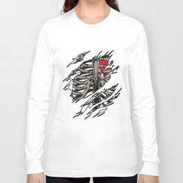 Rib Zombie Rib Cage Showing Skeleton Halloween Scary Light Long Sleeve T-shirt