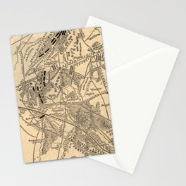 Vintage Battle of Bull Run Map (1886) Stationery Cards