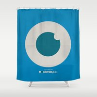 monster inc Shower Curtains featuring Monster, Inc. - Blue (Vintage) by Lemontrend Studio