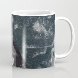 Dark night free climbing gym bouldering walls with boulder holds in pink and blue Coffee Mug
