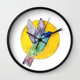 Bird colibri and sun Wall Clock