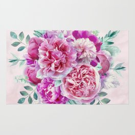 Beautiful soft pink peonies Rug