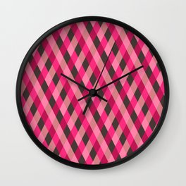 Retro pink geometry pattern Wall Clock