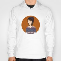 tegan and sara Hoodies featuring Tegan and Sara: Tegan portrait #3 by Cas.