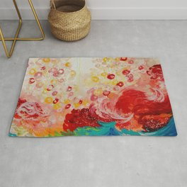 SUMMER DAYS Feminine Pretty Pink Red Peach Abstract Acrylic Painting Whismical Nature Color Splash Rug