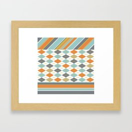 Retro 1980s Argyle and Stripes Geometric Framed Art Print