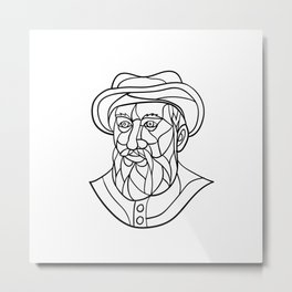 Ferdinand Magellan Mosaic Black and White Metal Print