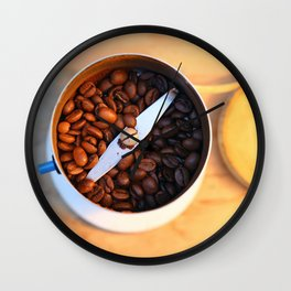 coffee beans in the coffee mill Wall Clock