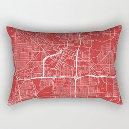 Akron Map, USA - Red Rectangular Pillow