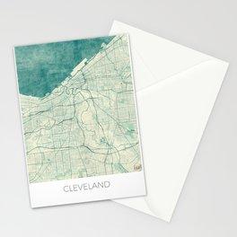 Cleveland Map Blue Vintage Stationery Cards