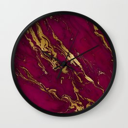 Marsala Marble and Gold Foil Wall Clock