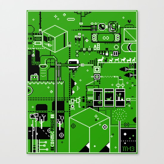 Cosmic Pause - pixel art Canvas Print