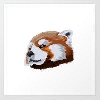red panda Art Prints featuring panda by JuliaTara