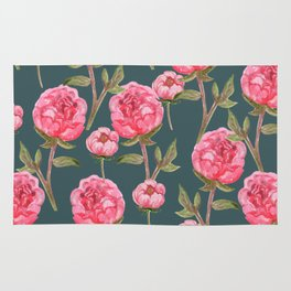 Pink Peonies On Green Background Rug