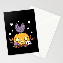 Pumpkin Cats Son // Black Stationery Cards