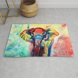 Colorful Watercolor Elephant Rug