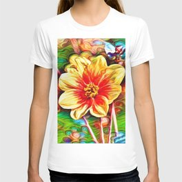 Dahlia Dreams | Abstract Oil Painting T-shirt