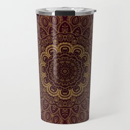 Gold Mandala on Royal Red Background Travel Mug