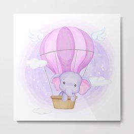 Baby Elephant In Hot Air Balloon Metal Print