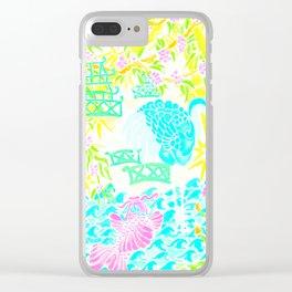 Asian Bamboo Garden in Pink Lemonade Watercolor Clear iPhone Case