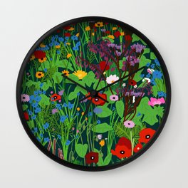 Wildflower night Wall Clock