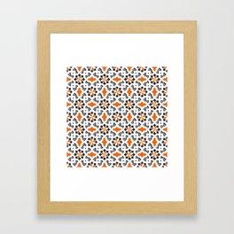 black, white, grey, orange -  Oriental design - orient  pattern - arabic style geometric mosaic Framed Art Print