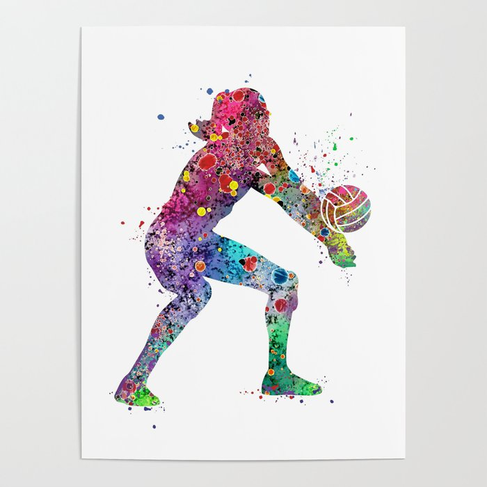 Volleyball Girl Watercolor Print Girls Room Decor Volleyball Poster